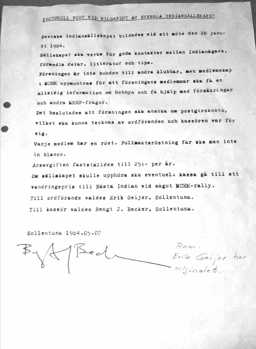 Protokoll fört vid bildandet av Svenska Indiansällskapet - 1984